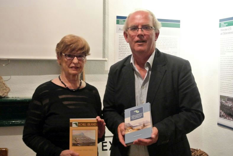 Author Theresa McDonald with new Achill guidebook, with speaker Michael Gibbons