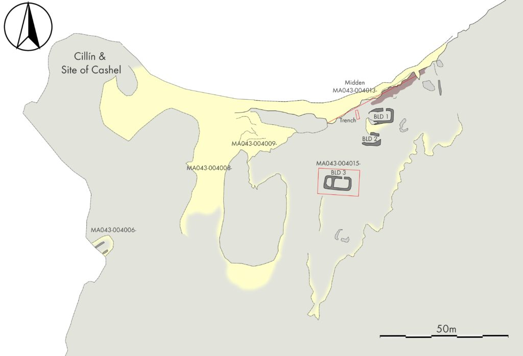 Map of the archaeological complex at Caraun Point, Tonatanvally, Achill Island.