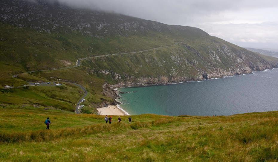 Students on field trip at Keem Bay, Achill Island