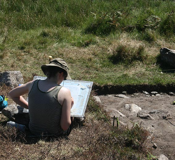 Archaeology student sketching at dig site, Achill Island