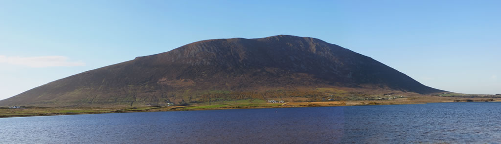View across Keel lake to Slievemore