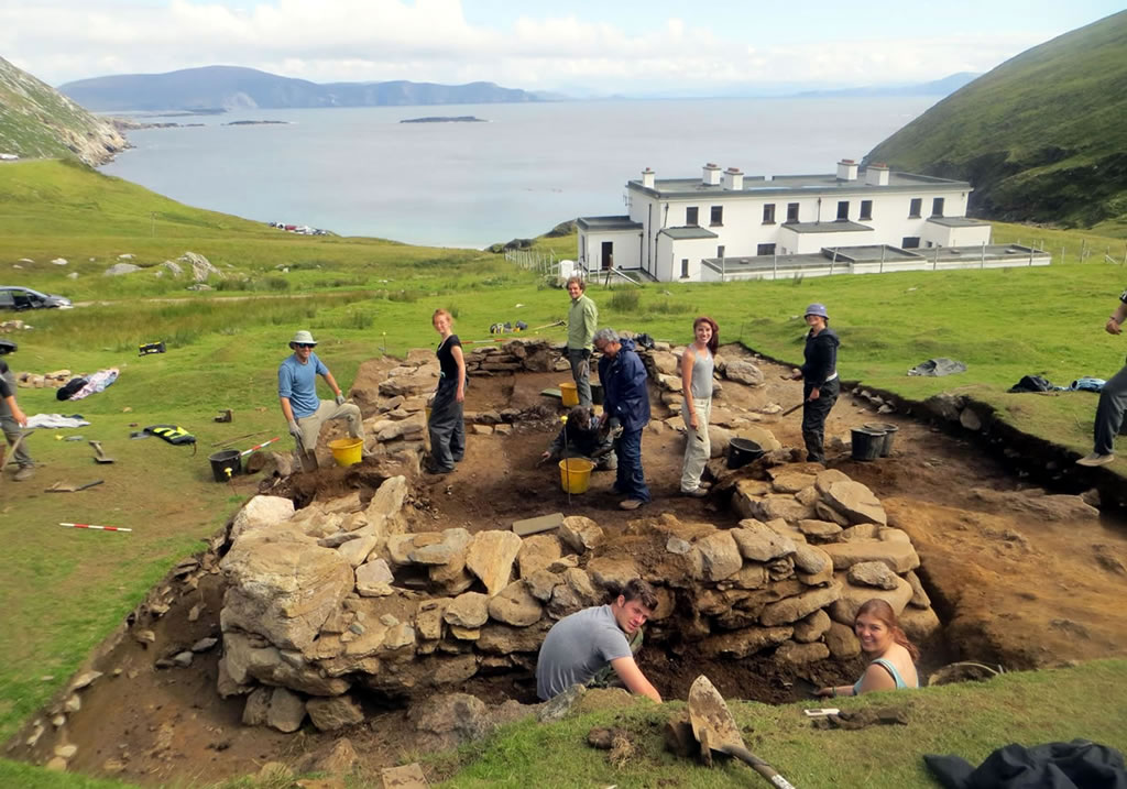 Students at excavation site, Keem Bay