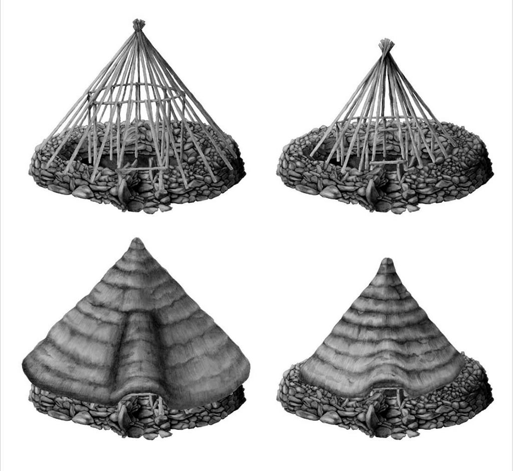 Two alternative reconstruction drawings of Roundhouse 1 (Stuart Rathbone)